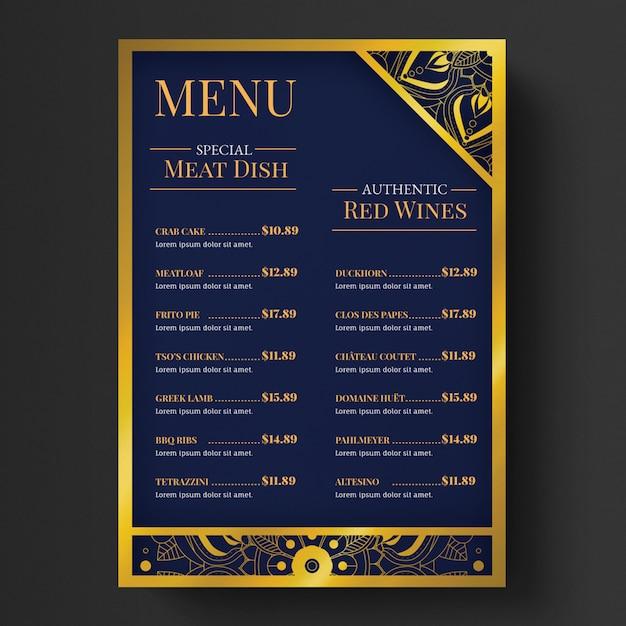 Modèle de menu élégant de luxe PSD Premium