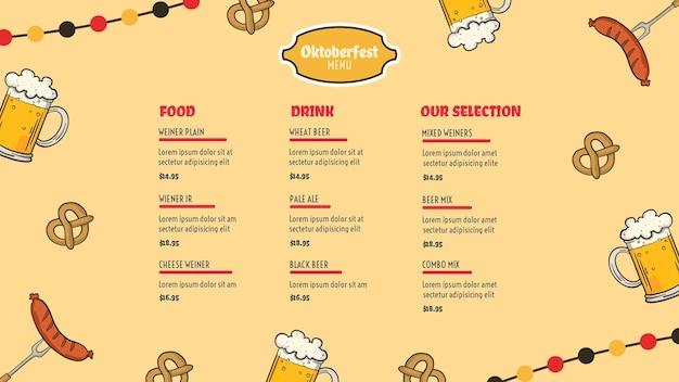 Modèle de menu oktoberfest Psd gratuit
