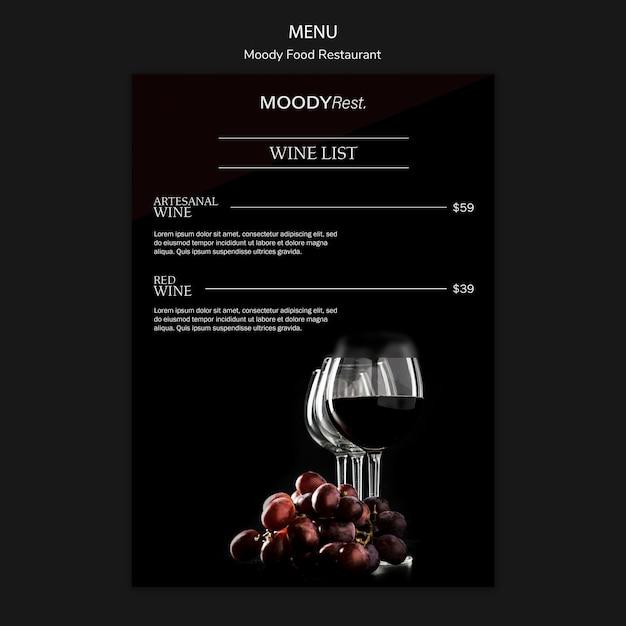 Modèle De Menu Pour Restaurant De Mauvaise Humeur Psd gratuit