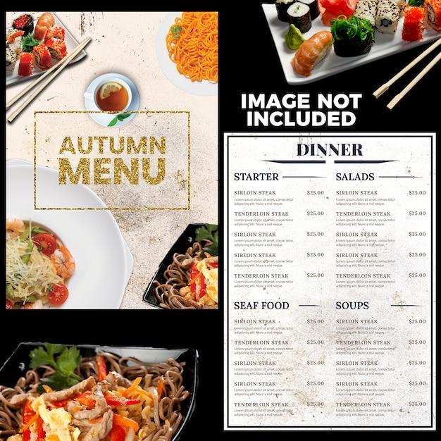 Modèle de menu de restaurant PSD Premium