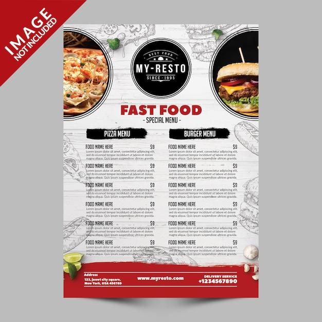Modèle de menu de restauration rapide PSD Premium