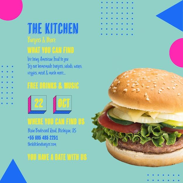 Modèle de menu savoureux burger de cuisine Psd gratuit