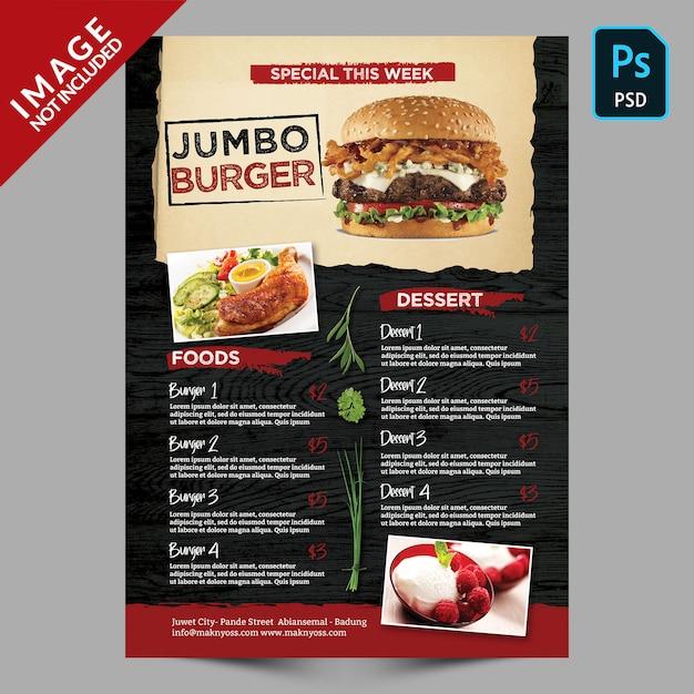 Modèle de menu spécial burger PSD Premium