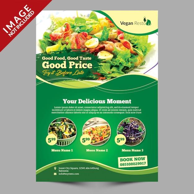 Modèle de menu végétalien PSD Premium
