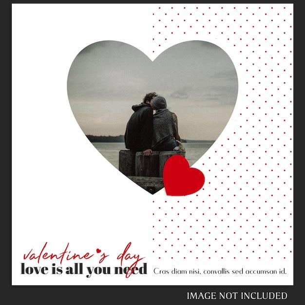 Modèle de message instagram créatif moderne romantique saint valentin et maquette de photo PSD Premium
