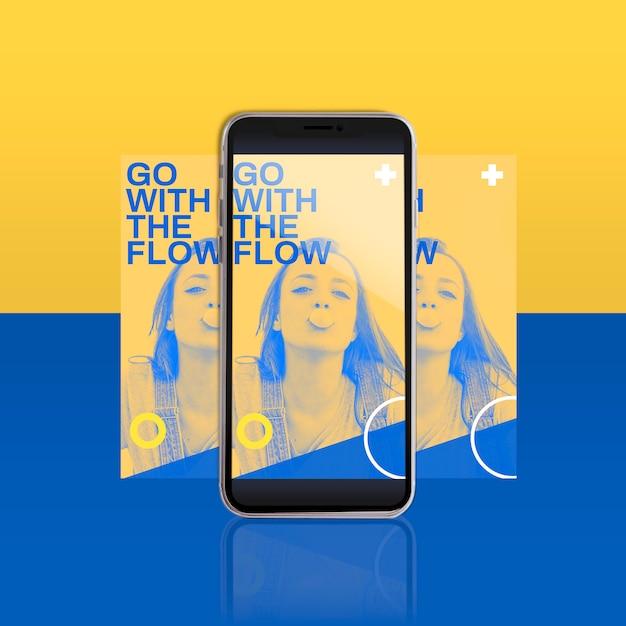 Modèle De Message Instagram Moderne Avec Smartphone Psd gratuit