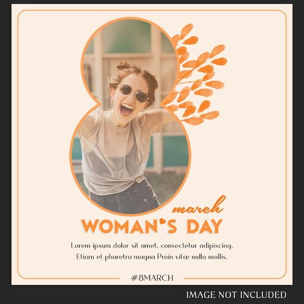 Modèle de message instagram pour le jour de la femme heureuse et le 8 mars PSD Premium
