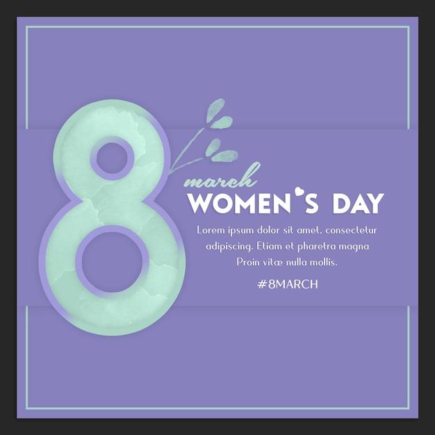Modèle de message instagram pour la journée des femmes et le 8 mars PSD Premium