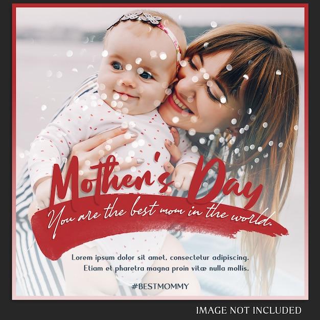 Modèle de message de joyeuse fête des mères sur instagram PSD Premium
