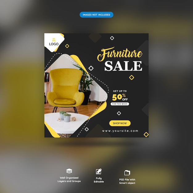 Modèle de message de médias sociaux pour la vente de meubles premium psd PSD Premium