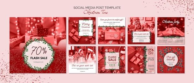 Modèle de message pour les médias sociaux de noël Psd gratuit