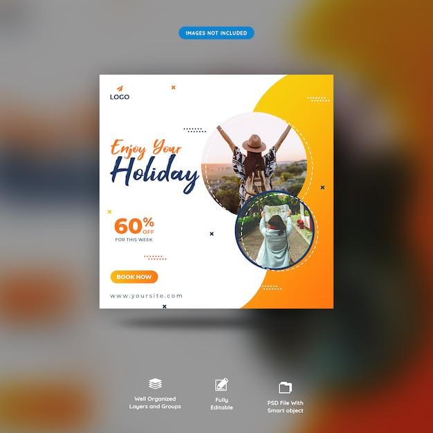 Modèle de message de voyage sur les réseaux sociaux premium psd PSD Premium