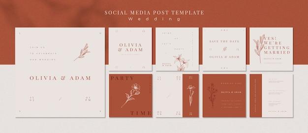 Modèle de messages de mariage élégant de médias sociaux Psd gratuit