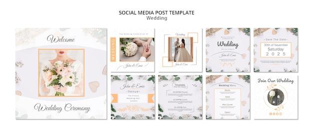 Modèle de messages de mariage sur les médias sociaux Psd gratuit