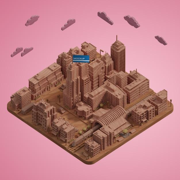 Modèle De Miniatures De Villes 3d Psd gratuit