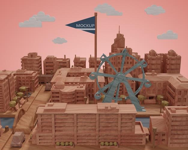 Modèle De Miniatures De Villes Sur Le Bureau Psd gratuit