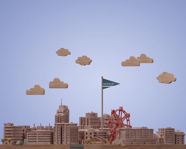Modèle De Miniatures De Villes Avec Maquette Psd gratuit