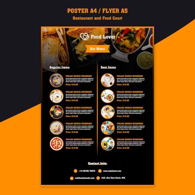 Modèle moderne pour l'affiche de restaurant de petit déjeuner Psd gratuit