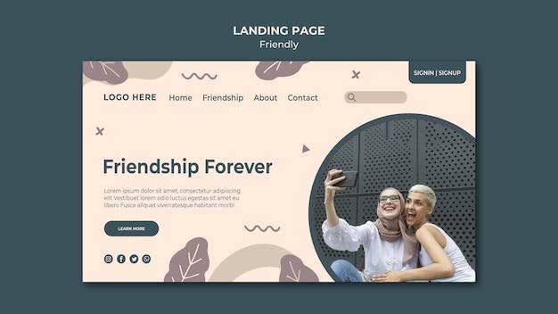 Modèle De Page De Destination De L'amitié Pour Toujours Psd gratuit