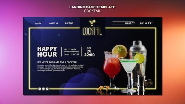 Modèle De Page De Destination De Concept De Cocktail Psd gratuit