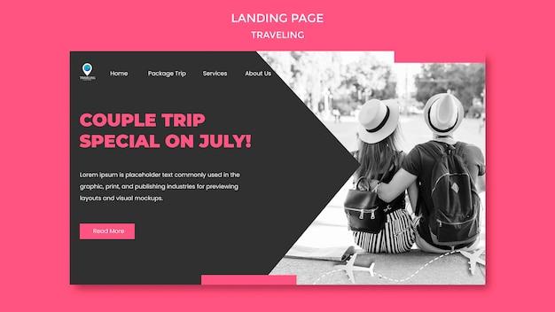 Modèle De Page De Destination De Concept De Voyage Psd gratuit