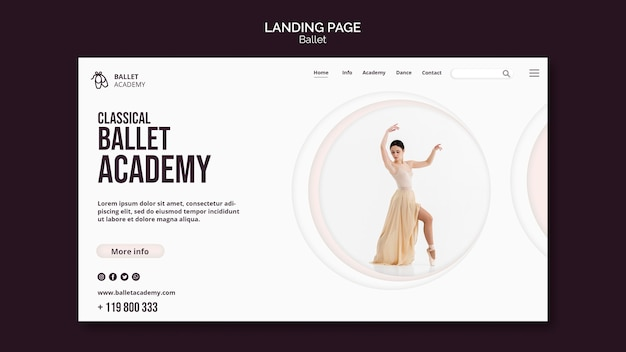 Modèle De Page De Destination Du Concept De Ballet Psd gratuit