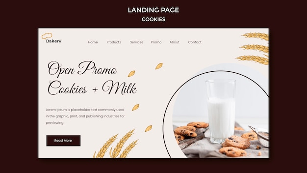 Modèle De Page De Destination Du Magasin De Cookies Psd gratuit