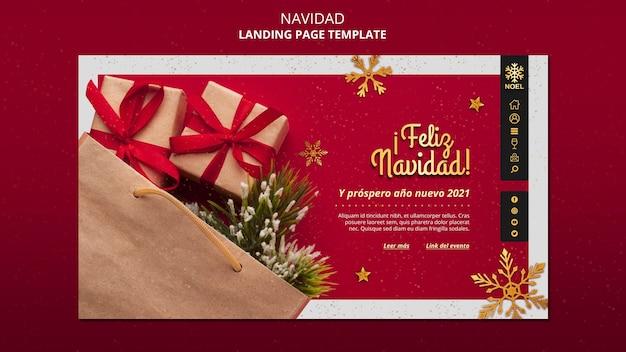 Modèle De Page De Destination Feliz Navidad Psd gratuit