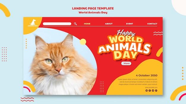 Modèle De Page De Destination De La Journée Mondiale Des Animaux PSD Premium