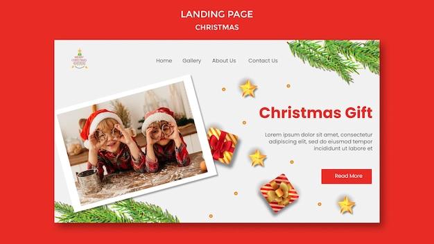 Modèle De Page De Destination Pour La Fête De Noël Avec Des Enfants En Chapeaux De Père Noël PSD Premium