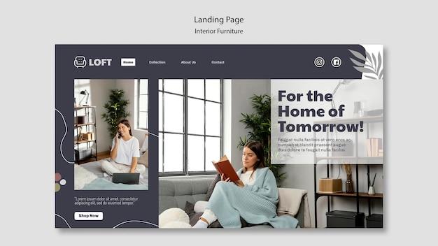 Modèle De Page De Destination Pour Les Meubles De Design D'intérieur PSD Premium