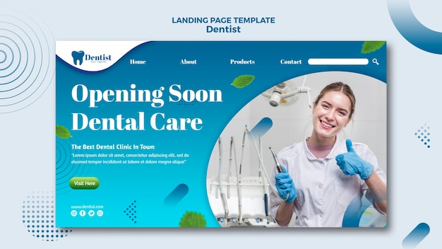 Modèle De Page De Destination Pour Les Soins Dentaires Psd gratuit