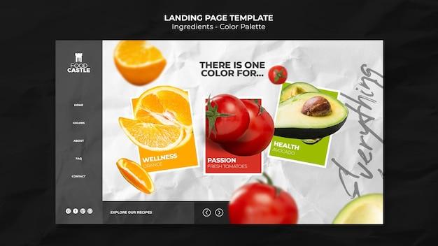 Modèle De Page De Destination Avec Tomate, Orange Et Avocat PSD Premium