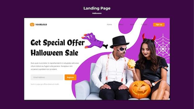 Modèle De Page De Destination De Vente Halloween Psd gratuit