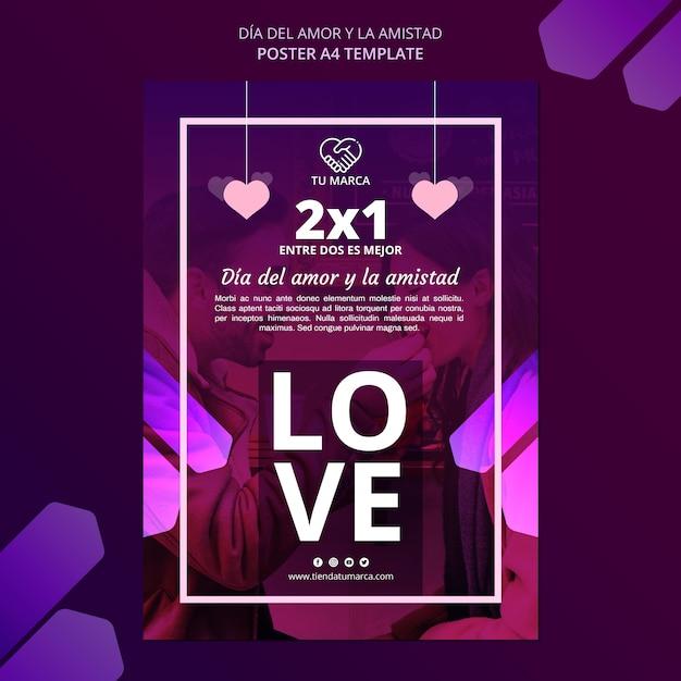 Modèle De Papeterie Affiche Amour Saint Valentin Psd gratuit