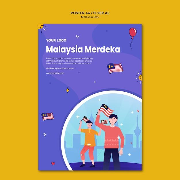 Modèle De Papeterie Affiche Malaisie Merdeka Psd gratuit