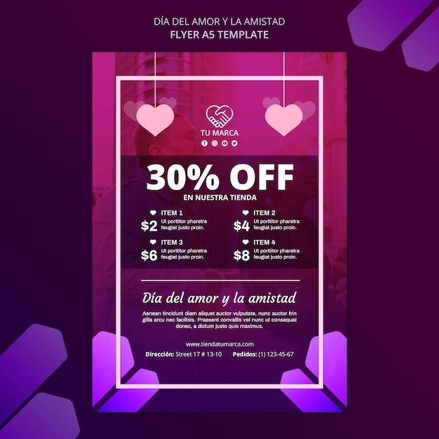 Modèle De Papeterie Flyer Discount Saint Valentin Psd gratuit