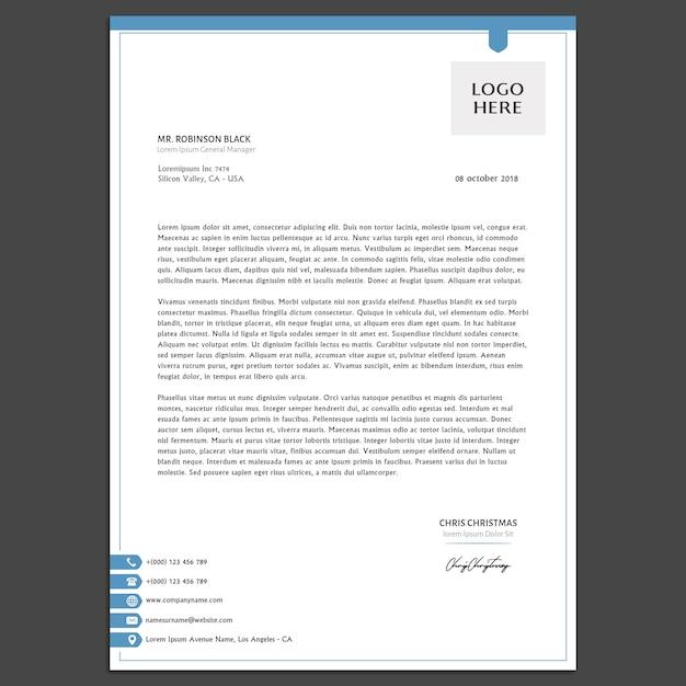 Modèle de papier à en-tête de base PSD Premium
