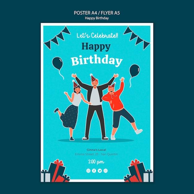 Modèle De Pflyer De Célébration D'anniversaire Psd gratuit