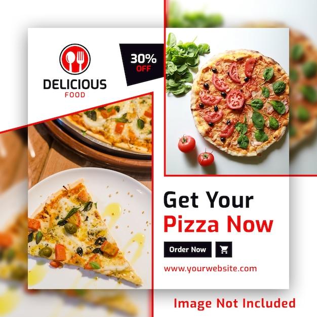 Modèle de pizza instagram pizza square square bannière psd pour restaurant PSD Premium