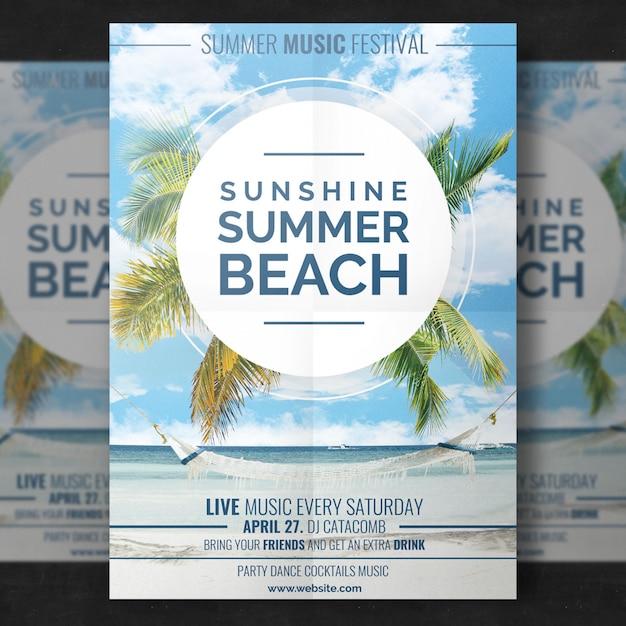 Modèle de plage d'été PSD Premium