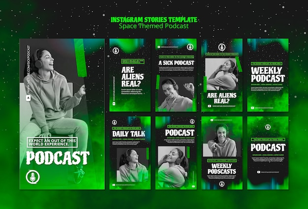 Modèle De Podcast Sur Le Thème De L'espace Pour Les Histoires Instagram Psd gratuit