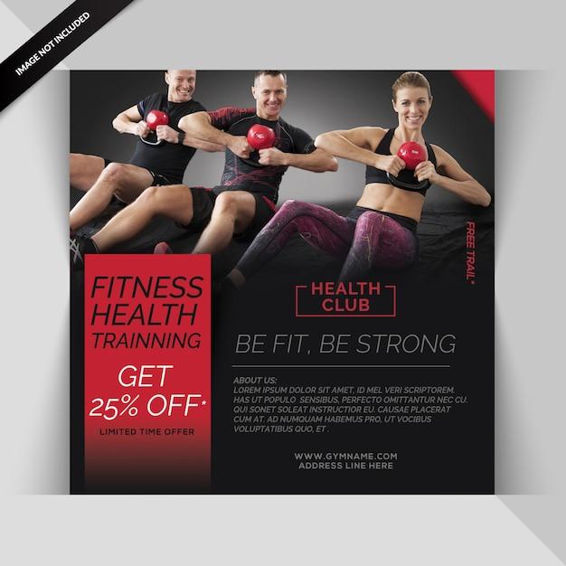 Modèle de post gym ou flyer carré pour gym fitness PSD Premium