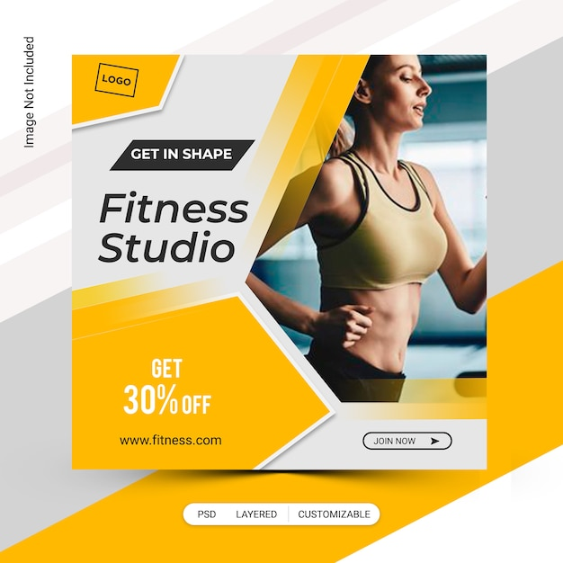 Modèle de poste de gym fitness bannière PSD Premium