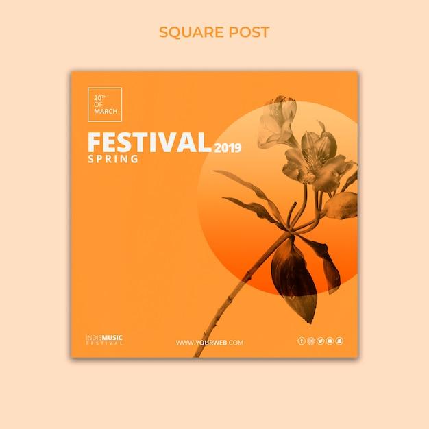 Modèle de poteau carré avec concept de festival de printemps Psd gratuit