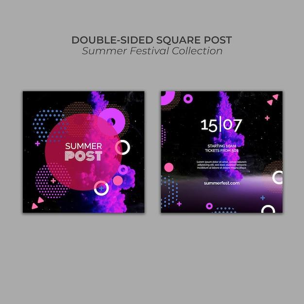 Modèle de poteau carré double face pour festival d'été Psd gratuit