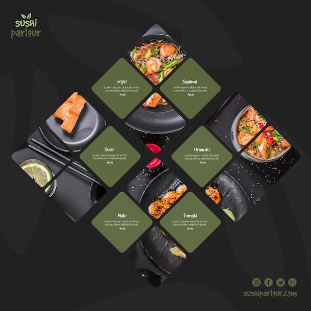 Modèle de poteau carré pour restaurant japonais Psd gratuit