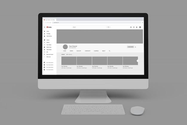 Modèle De Profil Youtube Sur Des Maquettes D'ordinateur PSD Premium