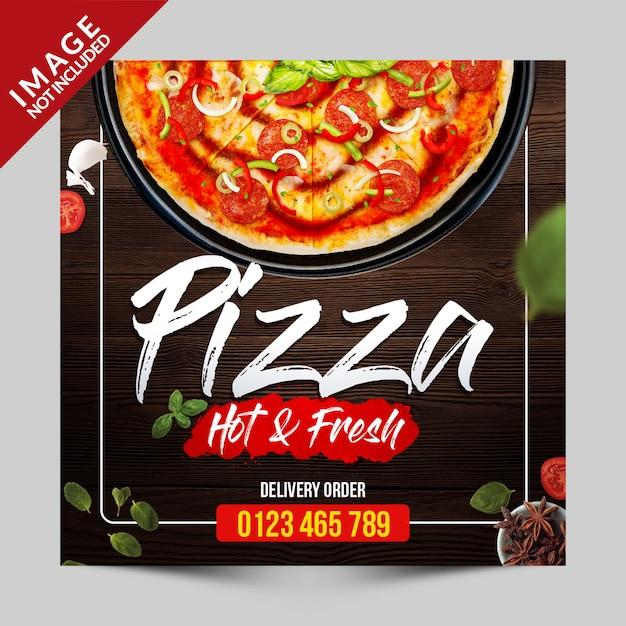 Modèle de promotion des médias sociaux pizza PSD Premium