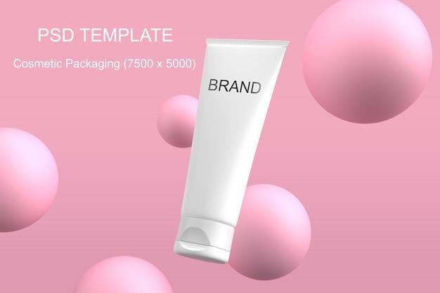 Modèle psd de l'emballage cosmétique maquette sphère rose PSD Premium